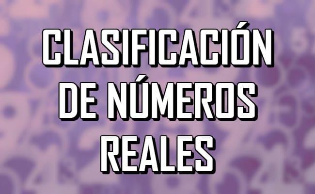 ¿Cuál es la clasificación de los números reales?