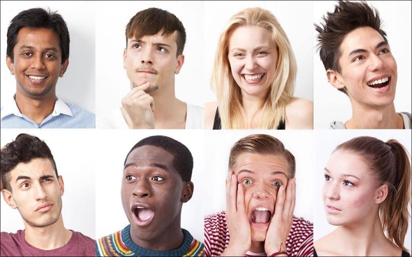 muchas expresiones faciales diferentes