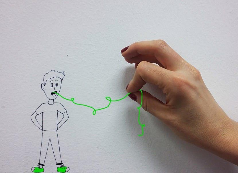 chico con disfemia en dibujo